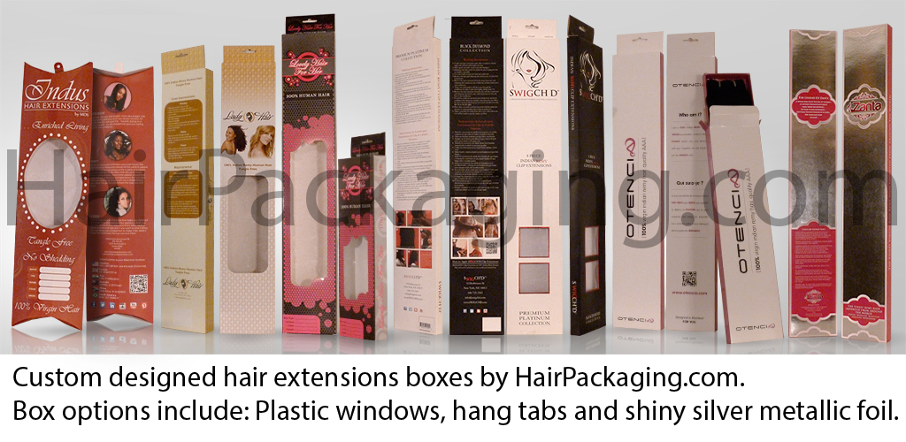 Custom designed hair extensions boxes by HairPackaging.com. Box options include: Plastic windows, hang tabs and shiny silver metallic foil.