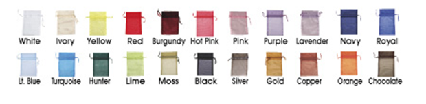 Sheer fabric bags available in 20 colors and 4 sizes