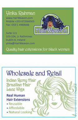 Business Card Design for Hair Retailer in Ireland