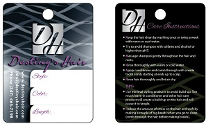 Standard 3x4 hang tag design by hairpackaging.com