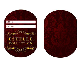 Custom Hang Tag Design with Gold Foil Stamping for Logo - front and back