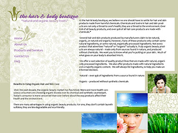 Boutique hair and beauty website design