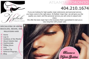 human hair website design - online sales with referral program