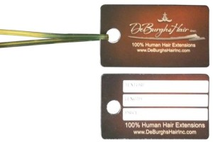 Small 3.5 x 2 inch hair hang tag for human hair extensions with tie attached - use so your hang tags are easily attached to your extensions or wigs