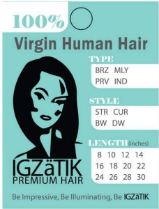 Standard 3x4 inch hang tag for virgin human hair.  Pre-filled information so simply circle and attach to hair