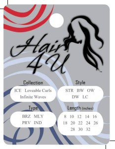 Standard 3x4 inch hang tag with pre-printed options - just circle and attach to hair