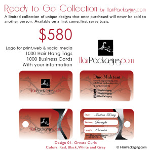 Logo, Hair Tags, Business cards $580. Design 01-Ornate Curls