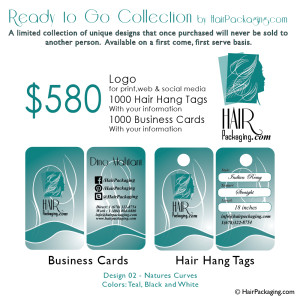 Logo, Hair Tags, Business cards $580. Design 02-Natures Curves