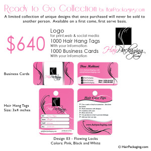 Logo, Hair Tags, Business cards $580. Design 03 Flowing Locks