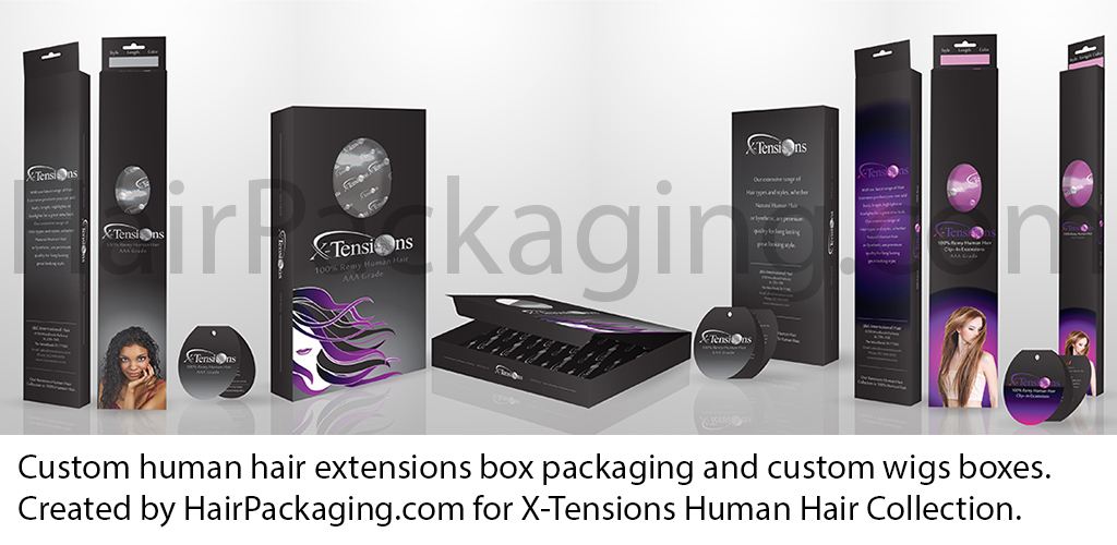 Custom human hair extensions box packaging and custom wigs boxes. Created by HairPackaging.com for X-Tensions Human Hair Collection.