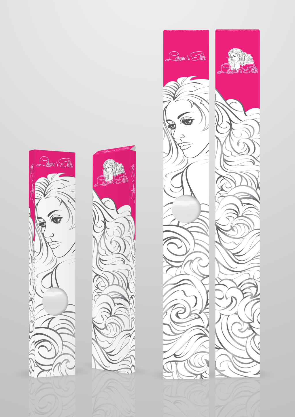 The front and back of two lengths of a hair extension box. The different lengths of each box allow a range of hair extensions lengths. The boxes also have small plastic windows so the color and texture of the hair can be seen.