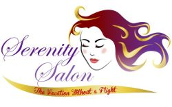 Hair salon logo with illustration of a woman with golden locks