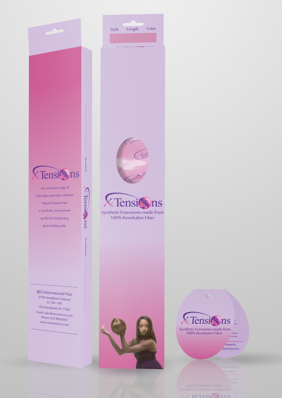 Custom synthetic hair extensions box packaging with folded hang tag.