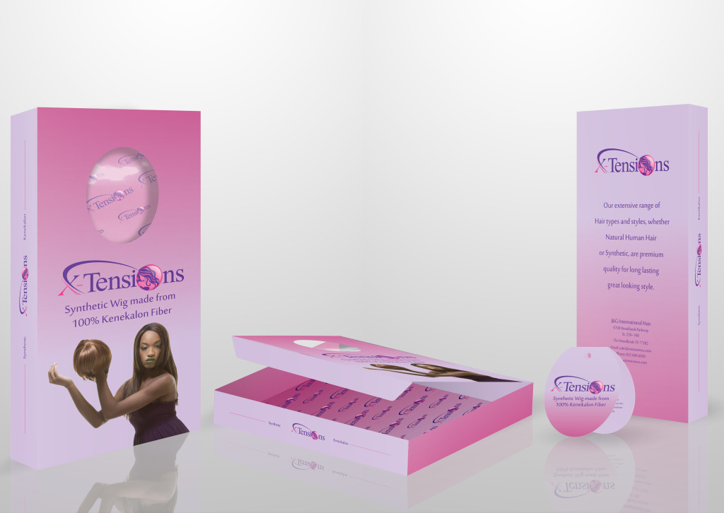 Custom synthetic wig box packaging with folded hang tag.