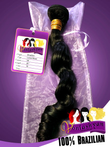 Standard 3x4 inch custom designed hang tag for Brazilian hair extensions, Pictured with our 6.5 x 15 inch sheer fabric bags