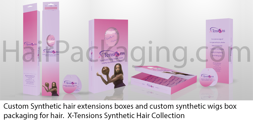 Custom Synthetic hair extensions boxes and custom wigs box packaging for hair – X-Tensions Synthetic Hair Collection
