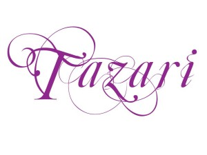 Logo for human hair extensions brand Tazari from Tres Belle Hair Company which has a matching logo