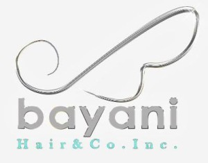 Lock of hair logo design in chrome color for Bayani Hair & Co