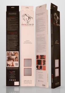 Two product lines, differentiated by color schemes on boxes: black/red and white/red. The box has a shiny red metallic foil and windows.